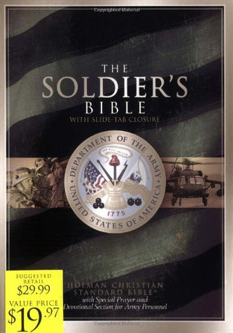 THE SOLDIER'S BIBLE: with Special Prayer and Devotional Section for Army Personnel; Green, Bonded Leather with Slide-Tab Closure
