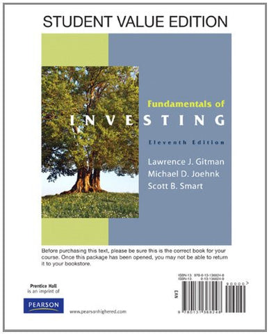 Fundamentals of Investing, Student Value Edition (11th Edition) (The Prentice Hall Series in Finance)