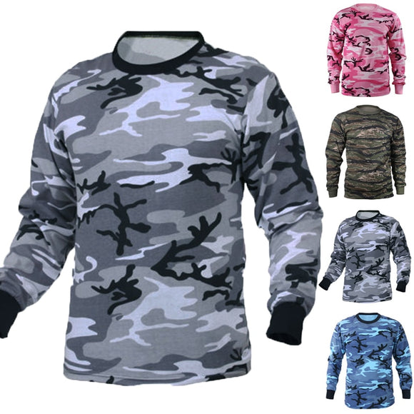 INCERUN Multicolor S-3XL Men's T Shirts Long Sleeve Tactical Camouflage Loose Fitness Combat Military TShirt Camo bodybuilding