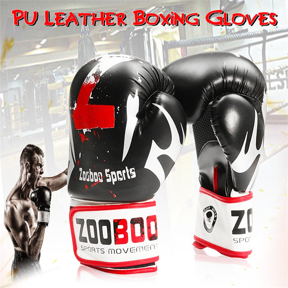 1 Pair PU Leather Boxing Gloves Mitts Muay Kick Thai Gym Sparring MMA Pads Wraps