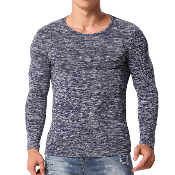 Fashion Mens T-Shirts Long Sleeve Slim Fitness Tshirt Men Muscle Tee Bodybuilding Workouts Gyms Tops Plain Basic Men Clothing