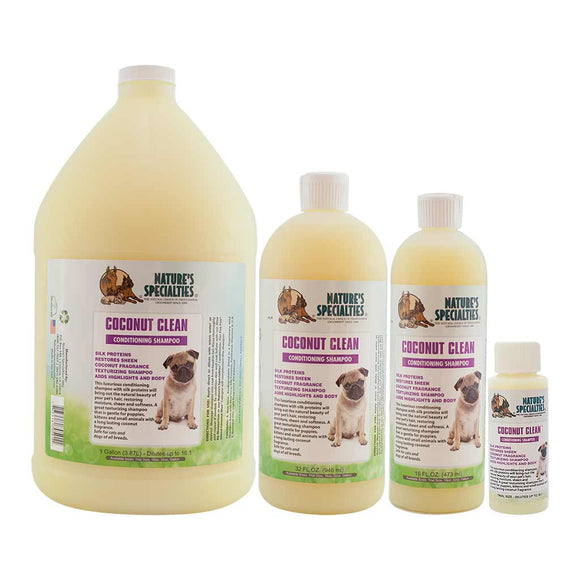 All Sizes of Nature's Specialties Coconut Clean Shampoo for Dogs and Cats