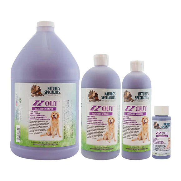 All Sizes of Nature's Specialties EZ Out® Deshedding Shampoo for Dogs & Cats