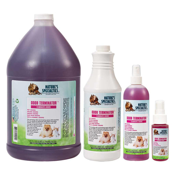 All Sizes of Nature's Specialties Odor Terminator Spray for Dogs & Cats