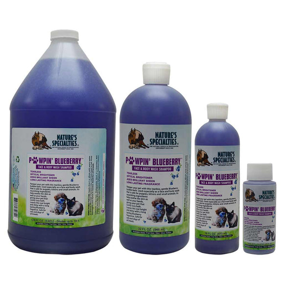 All Sizes of Nature's Specialties Pawpin' Blueberry Tearless Shampoo