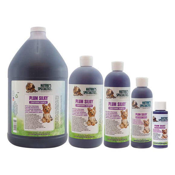 All Sizes of Nature's Specialties Plum Silky Shampoo for Dogs & Cats