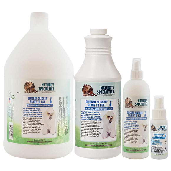 All Sizes of Nature's Specialties Quicker Slicker Ready to Use for Dogs & Cats