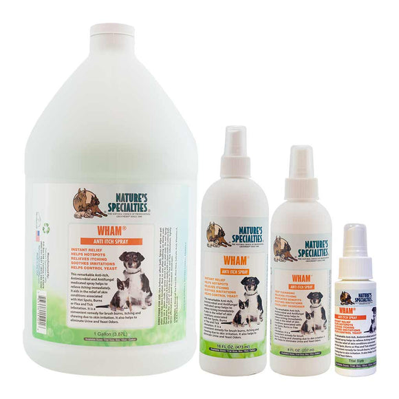 All Sizes of Nature's Specialties WHAM Anti-Itch Spray for Dogs & Cats