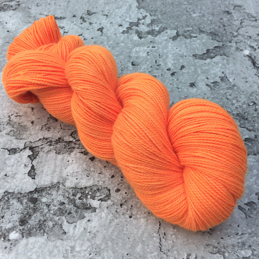 ELECTRIC TANGERINE - 80/20 Merino Sock Hand-dyed Yarn