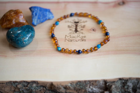Baltic Amber Teething Necklace Maverick- Custom Crystal Teething Necklace MacRae Naturals