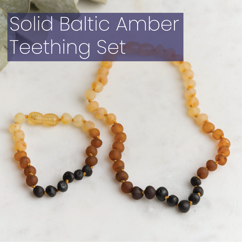 Solid Baltic Amber Teething Set by MacRae Naturals