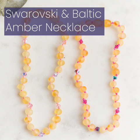 Customizable Swarovski Crystal Baltic Amber Necklace
