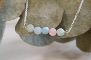 Faceted Morganite bar necklace by MacRae Naturals