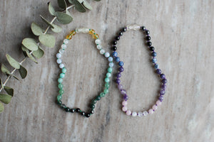 Fournado Crystal Necklace by MacRae Naturals - boy (green) and girl (purple) versions