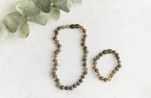 Children's Green Baltic Amber Teething & Pain Necklace