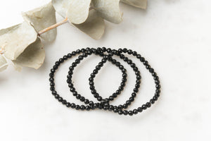 Dainty Faceted Black Tourmaline Bracelet single