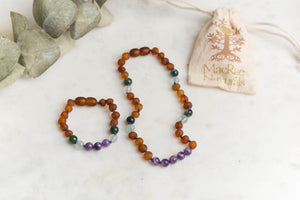 Baltic Amber Teething & Pain Jewelry in 'Willow'