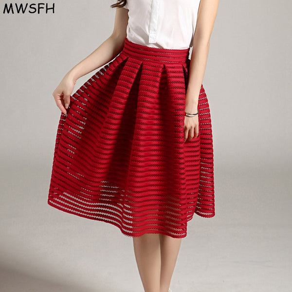 Striped Hollow-out Fluffy Skirt