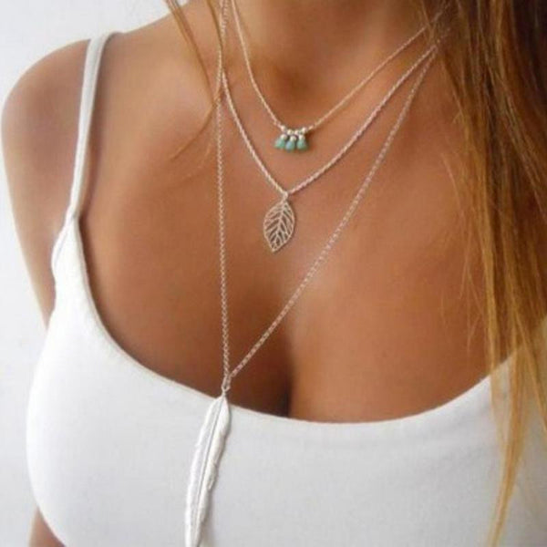 Long Leaf Pendant Necklace 3 Layer Multilayer Chain