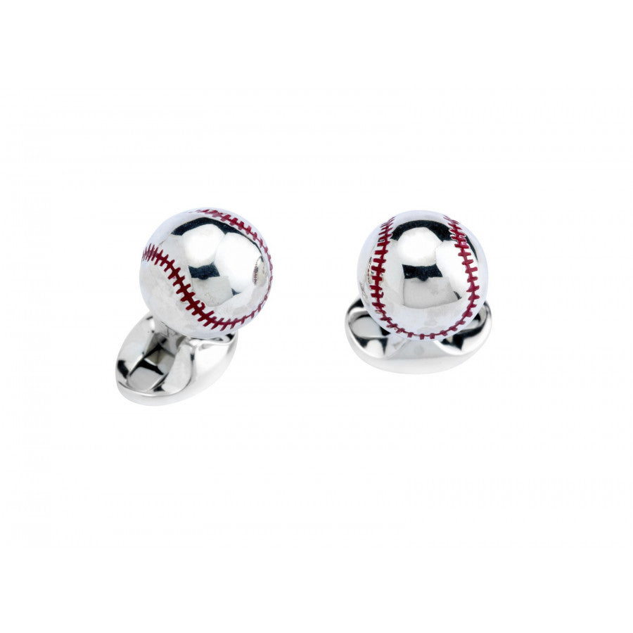 Sterling Silver Baseball Cufflinks