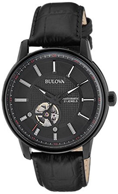 Black Dial Automatic Men's Leather Watch