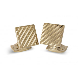 Square Engine Turned Cufflinks - Gold Finish