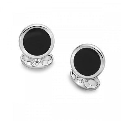 Sterling Silver Round Cufflinks with Onyx Inlay