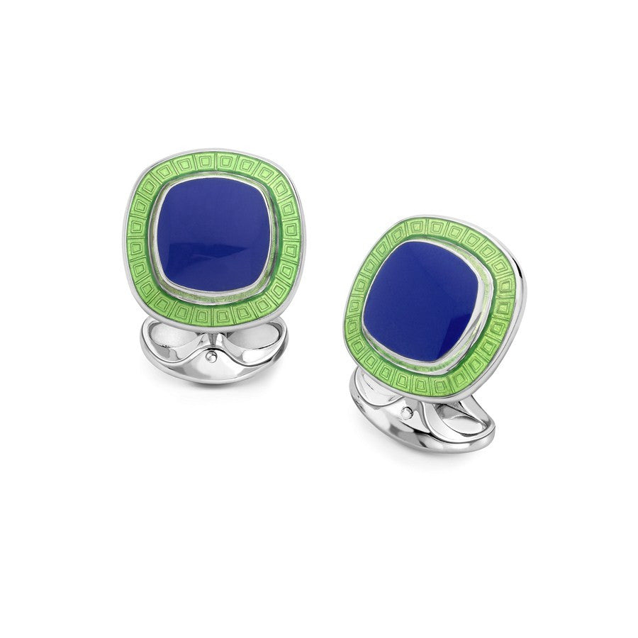 Sterling Silver Blue and Green Enamel Cufflinks