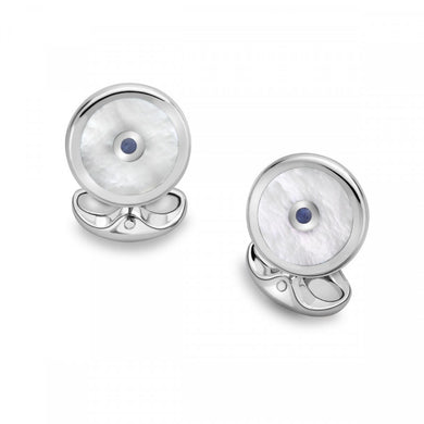 Sterling Silver Round Cufflinks with Mother of Pearl and Sapphire
