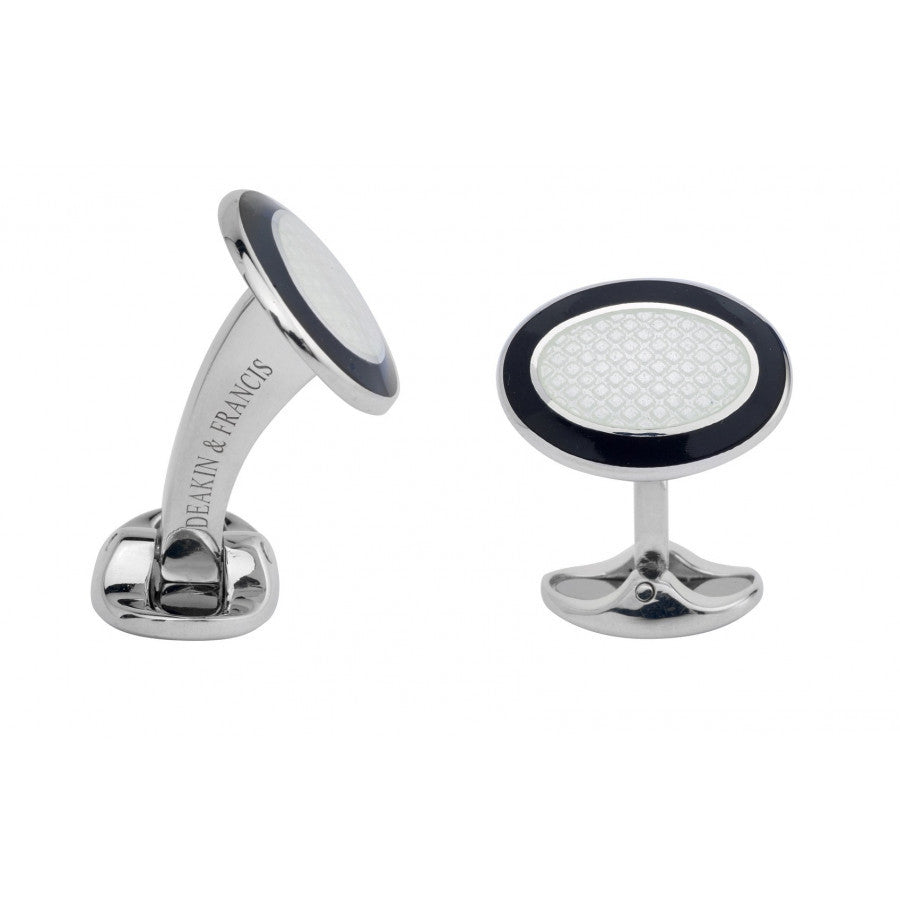 Sterling Silver Black & White Enamel Cufflinks
