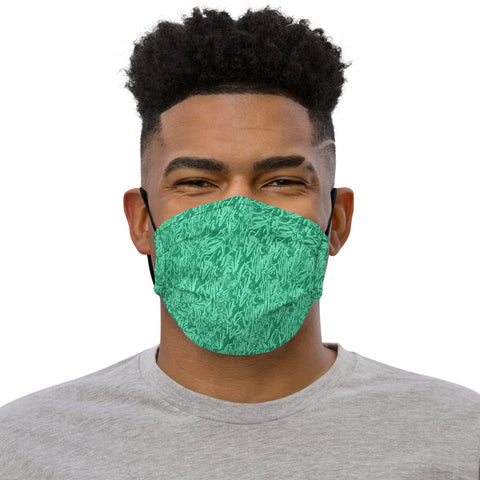 TEAL BILLION YEAR OLD FOSSIL PRINT Premium face mask