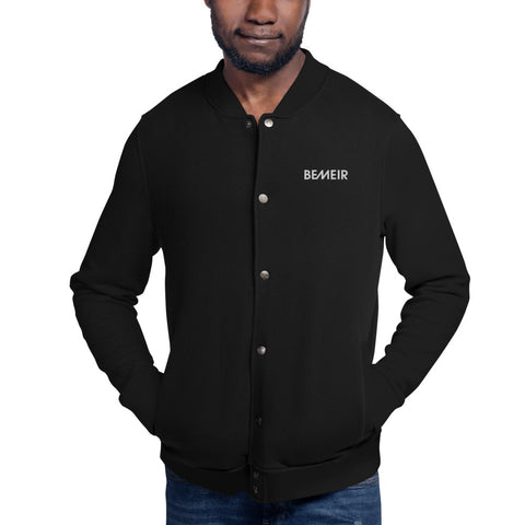 Bemeir Black Button Up Champion Bomber Jacket