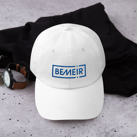 White with Blue Bemeir Dad Hat
