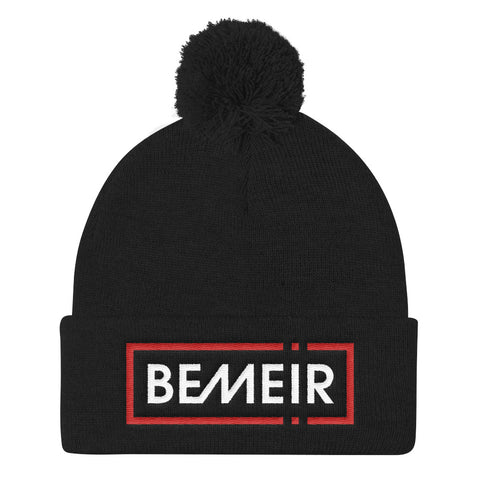 Bemeir Red and White +  Black Pom Pom Knit Cap