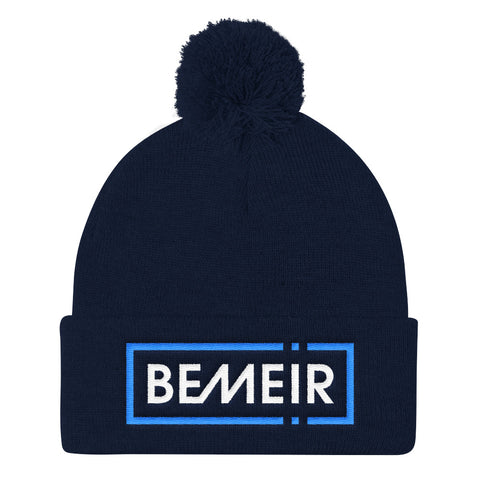 Bemeir Winter Electric Navy Blue Pom Pom Knit Cap