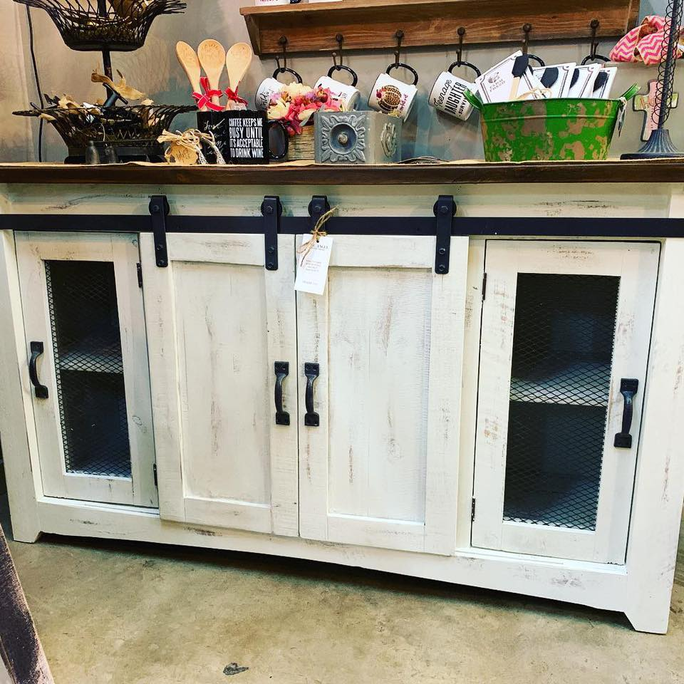 White Barn Door Console $599