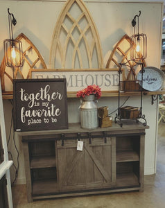 Gray Barn Door Console $499