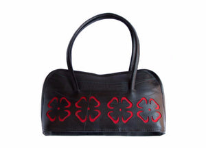 Flower Cutout Recycled Tire Purse