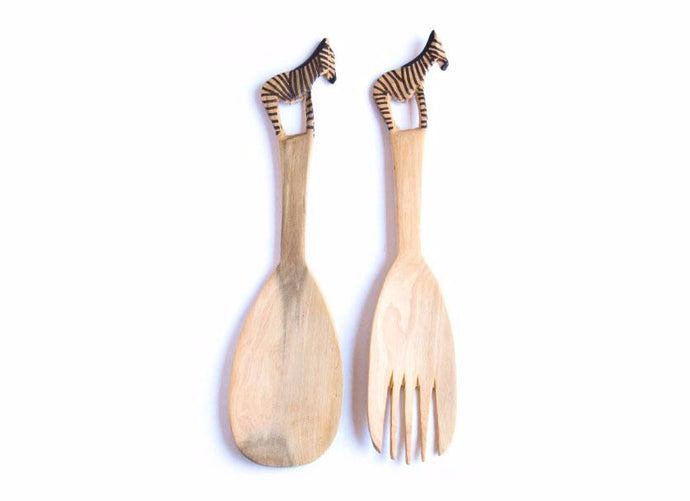 Zebra Salad Fork & Spoon