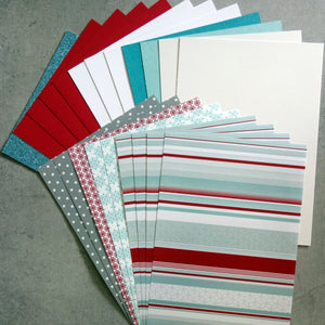"CARD PAPER A5 PACK ""FESTIVE STRIPE"" CHRISTMAS DESIGNER CARDMAKING 21 SHEETS"
