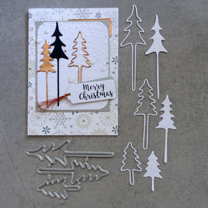 shopaperartz CHRISTMAS TREES SET OF 3 CUTTING DIES CARDMAKING