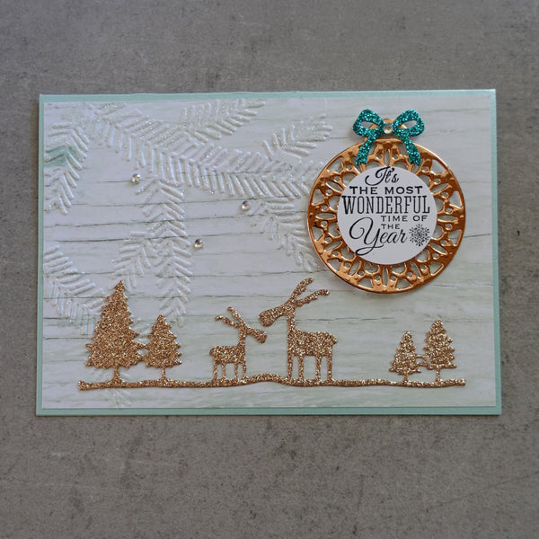 shopaperartz CHRISTMAS REINDEER MOOSE TREES BORDER CUTTING DIE CARDMAKING