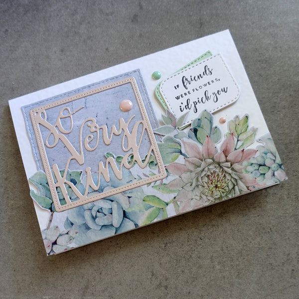 shopaperartz SO VERY KIND IN SQUARE FRAME FRIEND THANK YOU SENTIMENT CUTTING DIE CARDMAKING