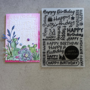 shopaperartz EMBOSSING FOLDER LARGE 5X7 HAPPY BIRTHDAY WORDS SENTIMENTS MESSAGES BACKGROUND CARDMAKING