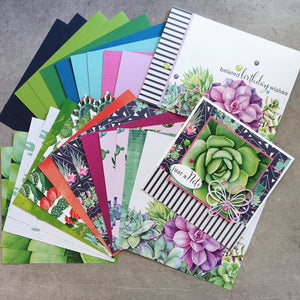 shopaperartz SUCCULENTS CACTII BOTANICAL 6x6 CARD PAPER PACK #1 26 SHEETS CARDMAKING
