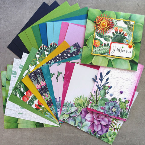 shopaperartz SUCCULENTS CACTII BOTANICAL 6x6 CARD PAPER PACK #2 26 SHEETS CARDMAKING