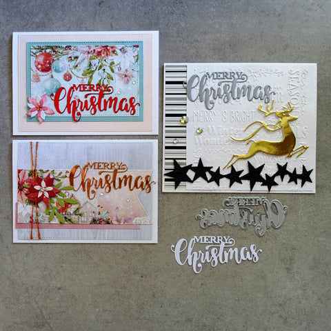 shopaperartz MERRY CHRISTMAS SENTIMENT CUTTING DIE CARDMAKING