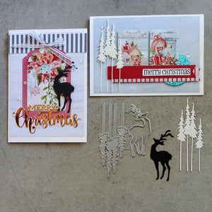 shopaperartz REINDEER STANDING TALL TREES CHRISTMAS FESTIVE CUTTING DIE CARDMAKING FIT SIZZIX
