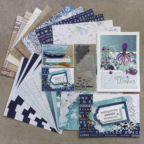 FREE FISHNET DIE:  KAISERCRAFT SUMMER SPLASH SURF BEACH COASTAL OCEAN 6x6 DESIGNER PAPER PACK 24 SHTS CARDMAKING