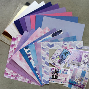 "CARD PAPER 6""x6"" PACK ""PERIWINKLE"" #2 LILAC PURPLE PINK BLUE PASTEL WATERCOLOURS 22 SHEETS CARDMAKING"